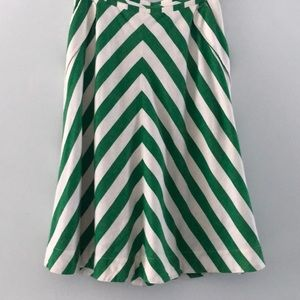 Anthropologie Green and White striped skirt